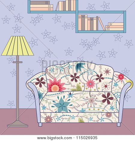 Vector cartoon funny vintage interior with painted couch