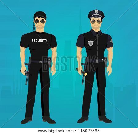 Vector Security and Policeman guards concept.