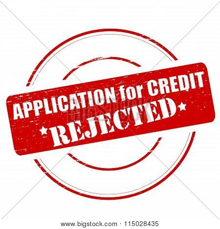 Rubber stamp with text application for credit rejected inside vector illustration