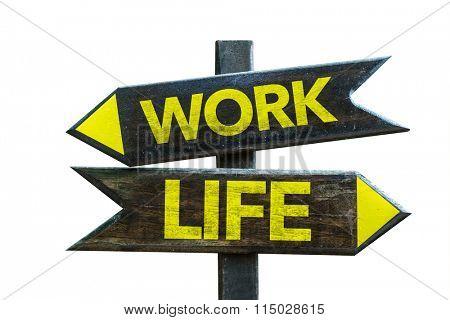 Work - Life signpost isolated on white background