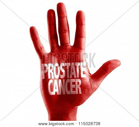 Prostate Cancer written on hand isolated on white background