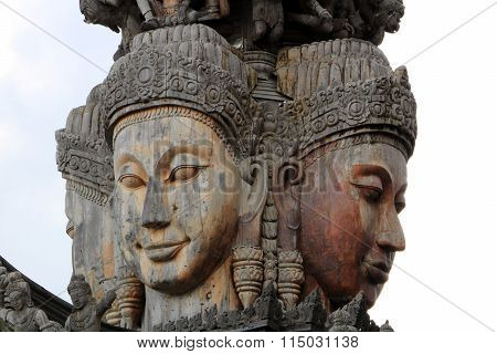 Carved wooden sculpture of the ancient Sanctuary of Truth poster