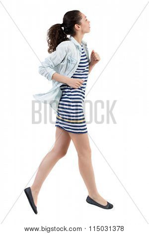 back view of running  woman. beautiful girl in motion. backside view of person.  Rear view people collection. Isolated over white background.Swarthy girl runs away.