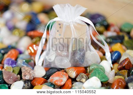 Bag of colored stones. Idea for the Gift of stones.
