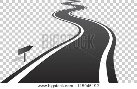 Winding road with white lines leaving over the horizon. Vector illustration on transparent background