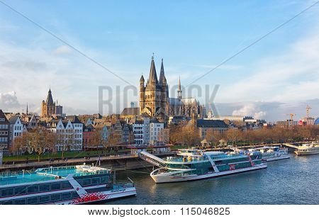 Rein River Embankment. Cologne