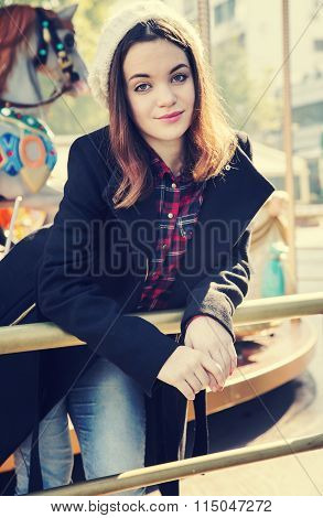 Beautiful Girl In Amusement Park