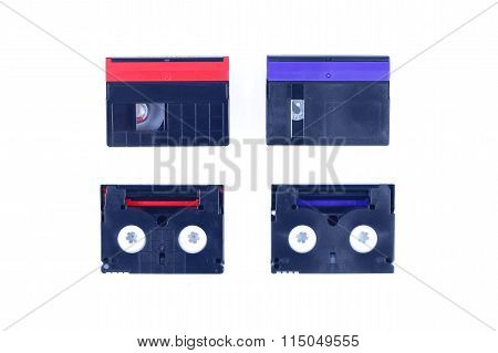 Red And Blue Mini Dv Cassette On Isolated Background.