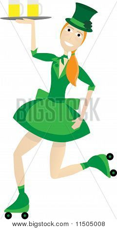 Female Waitress Dressed In St Patrick's Day Uniform Skating While Carrying Beer