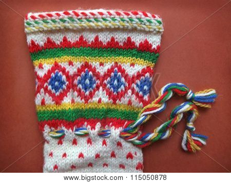 Detail Of Retro Winter Knitted Glove With Traditional Pattern