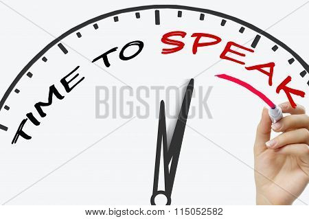 Hand writing Time To Speak concept with red marker on transparent wipe board.