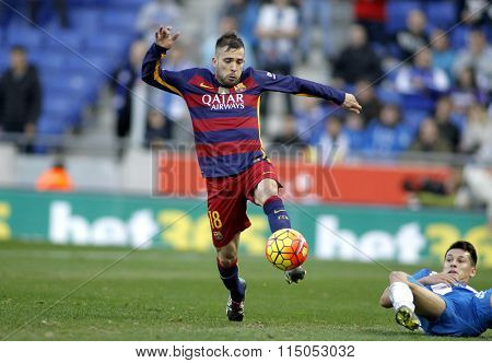 BARCELONA - JAN, 2: Jordi Alba of FC Barcelona during a Spanish League match against RCD Espanyol at the Power8 stadium on January 2, 2016 in Barcelona, Spain