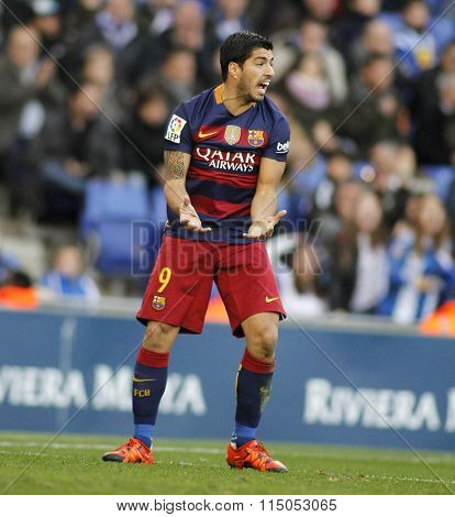 BARCELONA - JAN, 2: Luis Suarez of FC Barcelona during a Spanish League match against RCD Espanyol at the Power8 stadium on January 2, 2016 in Barcelona, Spain