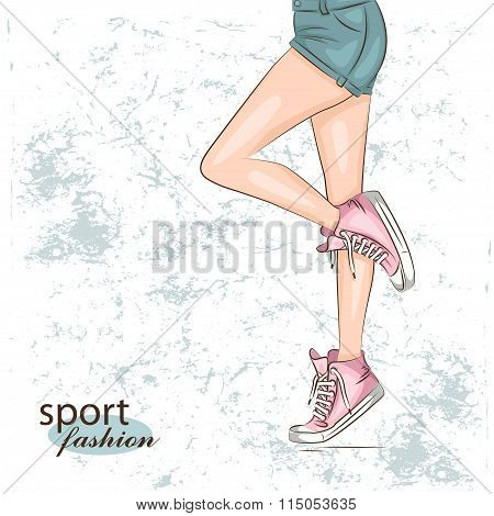 Background with fashionable sneakers.