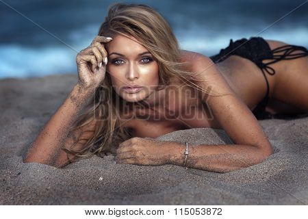 Portrait Of Sexy Woman At The Beach.