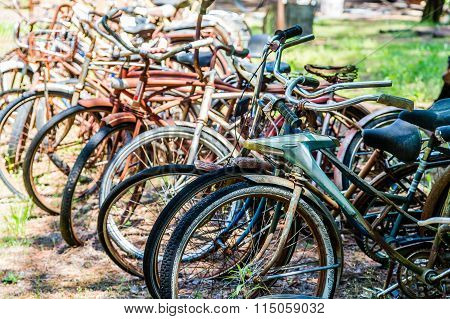 Rusty Bikes In A Junkyard