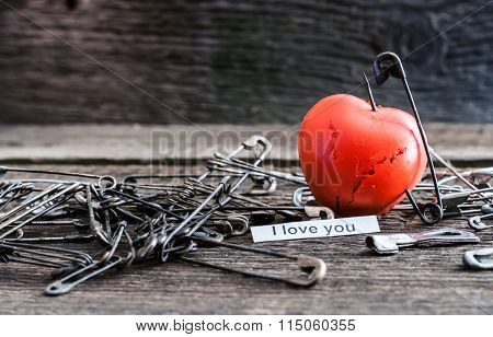 Red Heart Pierced Stud