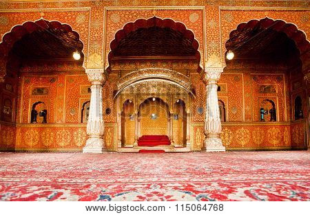 Golden Restroom Of Maharajah In The Palace Of 16Th Century Fort In Rajasthan
