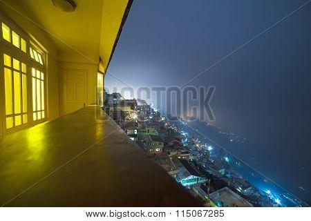 Panoramic View Of Night Darjeeling, West Bengal, India.