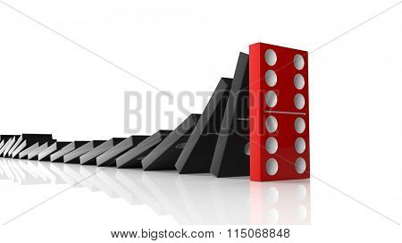 Black domino tiles falling in a row on to red last one standing, isolated on white