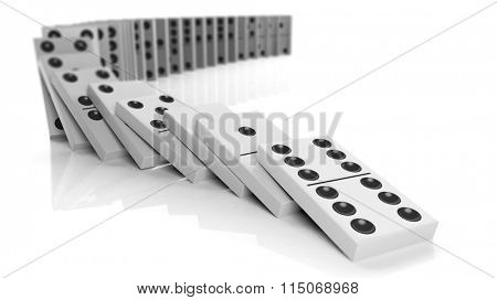 White domino tiles falling in a row, isolated on white