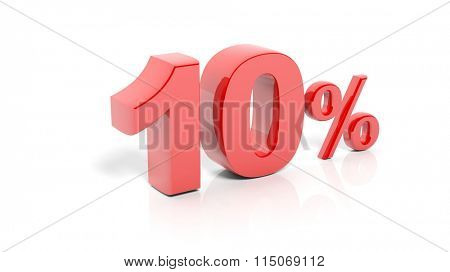 Red 10 percent number, isolated on white background.
