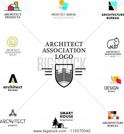 Vector flat architecture company logo collection.