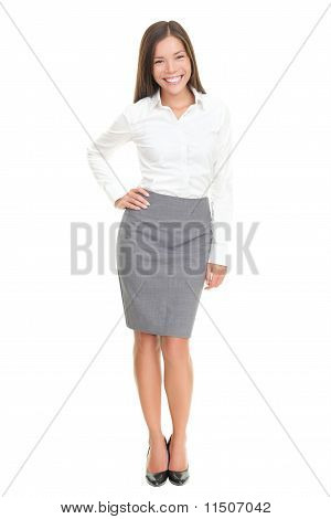 Beautiful Young Business Woman Full Body On White