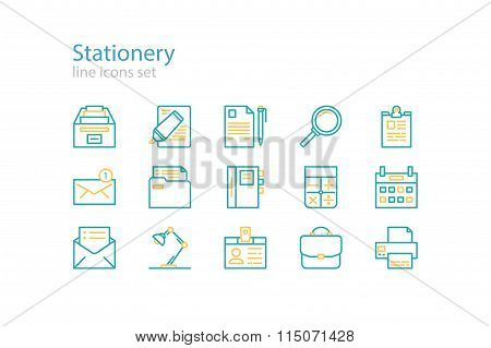 Office stationery icons. Line art. Stock vector.