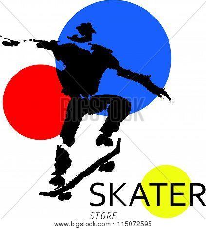Vector hand drawn skateboarder