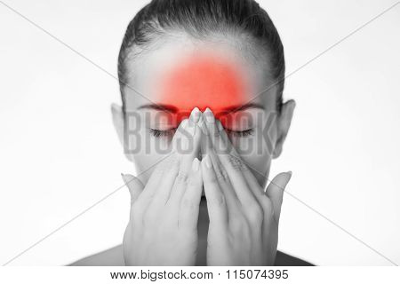 Woman has headache migraine or pain in her eyes poster