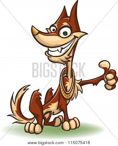 Cartoon Dog Showing Thumb Up