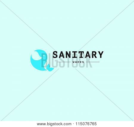 Vector flat sanitary and hygienic company insignia template. Sanitary service logo design. poster