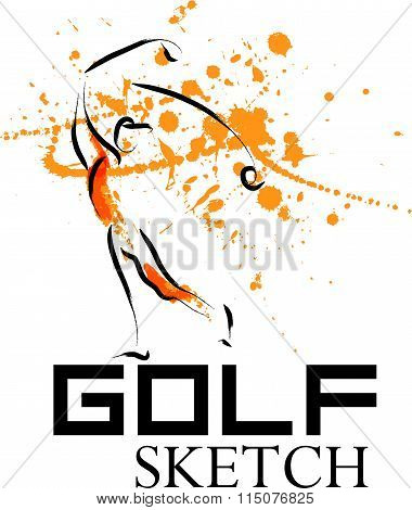 Vector hand drawn golf athlete.