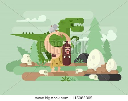 Primitive man with dinosaur. Caveman cartoon, prehistoric animal, neanderthal vector illustration poster