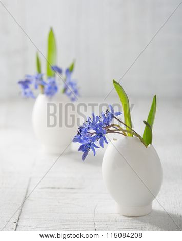 Bunches of  early spring   flowers ( Scilla siberica) in eggs shell  on the white wooden plank. Shallow depth of field, focus on near flowers. Easter decor