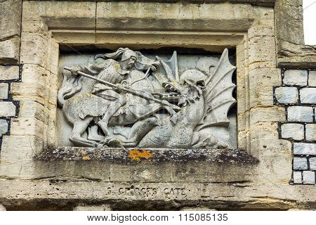 Medieval Bas-relief Above The Gate Of St. George. Windsor. Uk
