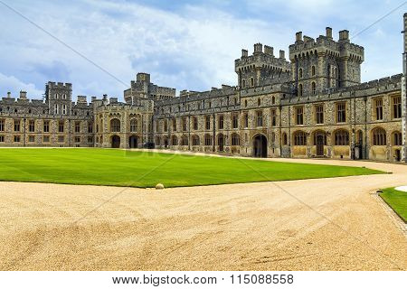 Exterior Stone Medieval Residential Complex With Courtyard Inside Windsor Castle