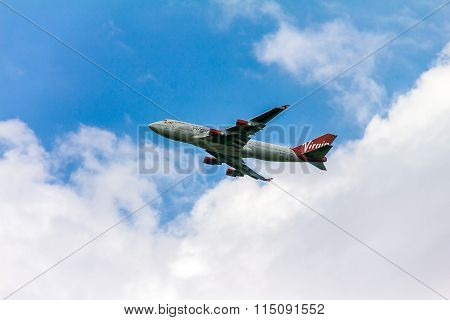 Boeing 747 Virgin Atlantic Gaining Altitude After Take off From  London Heathrow Airport