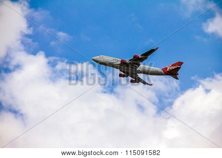 Boeing 747 Virgin Atlantic Gaining Altitude After Takeoff From  London's Heathrow Airport