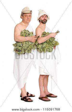 Joyful men with oak twigs in bathing costumes. From a series of Russian bath.