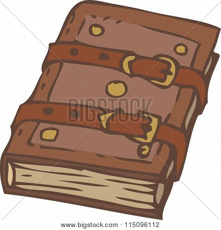 Closed Notebook Or Book With Brown Leather Cover And Clasps