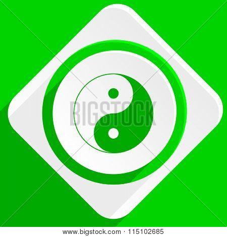 ying yang green flat icon poster