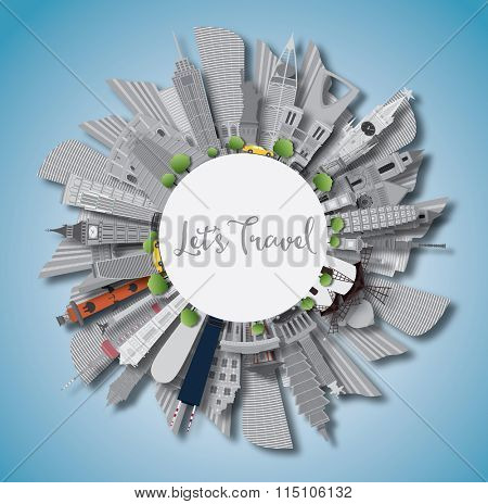 Travel Concept Around the World. Famous International Landmarks. Business Travel and Tourism Concept with Copy Space. Image for Presentation, Banner, Placard and Web Site.