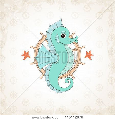 Childish vector seahorse with textural background