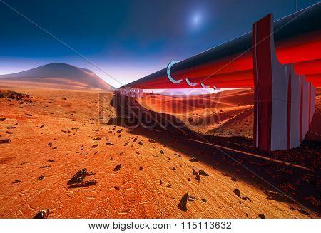 Water Pipelines On Mars or desert