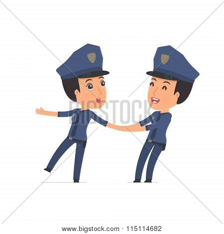 Funny And Cheerful Character Constabulary Drags His Friend To Show Him Something