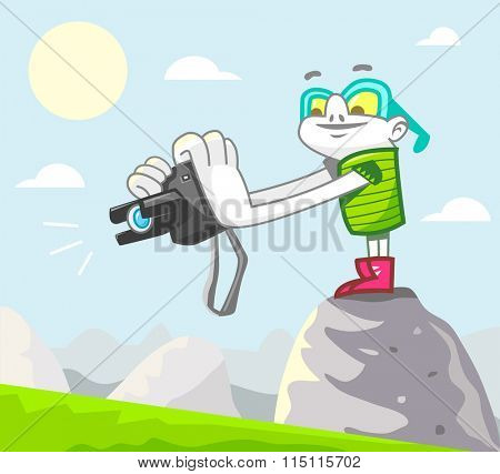 Stock photographer at work. Vector illustration.