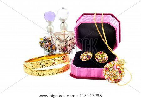 Golden set and perfumes