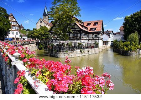 Esslingen Am Neckar, Germany - 18 July: View Of Old Wattle Houses In City Center With The Ancient Ca